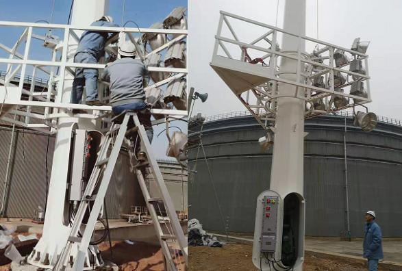 华荣升降式防爆高杆灯在中石化某分公司安装现场